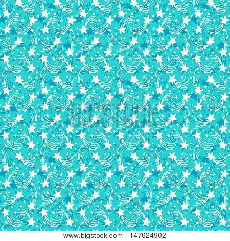 Vector seamless hand drawn pattern with falling stars, comets in doodle style. Funky ditsy background with fireworks and holiday lights. Childish, cute print for kids textile design in blue color
