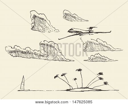 Sketch of an abstract seaside view and island, vector illustration, sketch