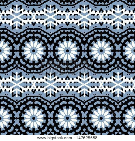 Vector ethnic colorful bohemian pattern in grey, black white with abstract ethnic flowers. Geometric boho chic background with Arabic, Indian, Moroccan, Aztec ethnic motifs. Bold bohemian tribal print