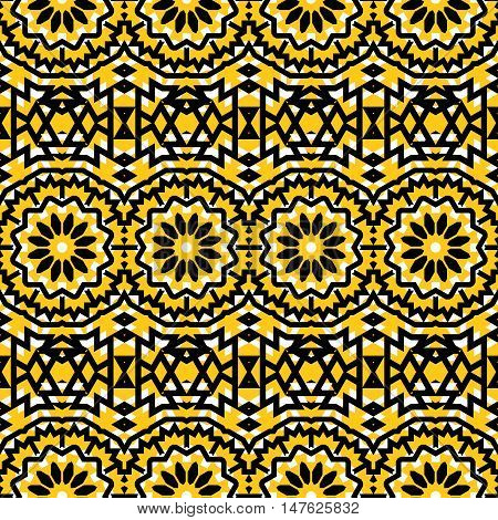 Vector seamless ethnic pattern with big abstract  ethnic flowers in bright yellow colors. Vintage style background with flourish tribal decor. Bold ethnic print with floral circles and geometric motif