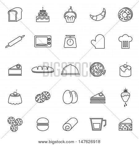 Bakery line icons on white background, stock vector