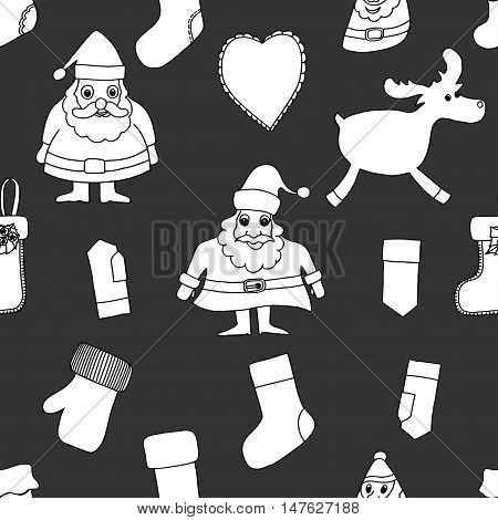 Monochrome Merry Christmas. Seamless pattern. Abstract background. Holiday ornament. Season decoration. New year template. Festive texture. Winter decorate. Santa Claus, reindeer, toy, Xmas tree, greeting