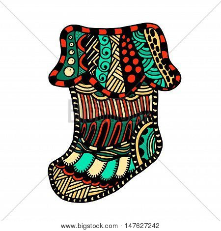 Christmas Winter boot in cartoon and zentangle style, vector