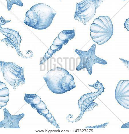 Seashells. Blue watercolor background. Hand drawn seamless pattern 2