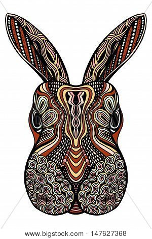 Ethnic animal. Tribal patterned Rabbit. Bunny head. Hare. Hand drawn illustration in zentangle style - Vector illustration