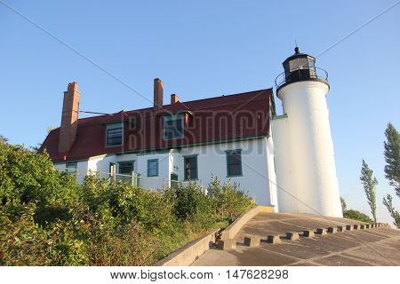 Point Betsie Lighthouse on the shore of Michigan