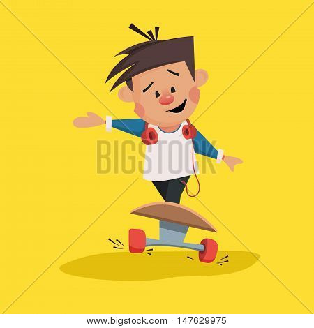 Young boy rides on a skateboard vector illustration
