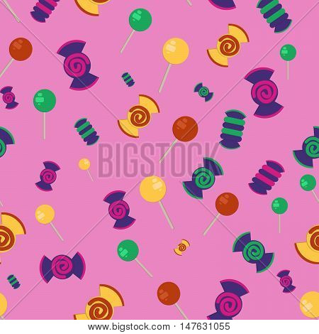 Candy and lollipop seamless pattern. Confection background for candy shops, candy wrapper, gift wrap, textile.