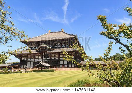Wooden main building of Todaiji temple in Nara Japan