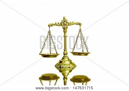 Decorative Scales of Justice on white background with reflection