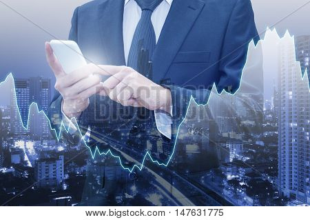 Double Exposure Of City Of Business , Financial Graph And Japanese Yen And Usd Dollar Bank Note Pile