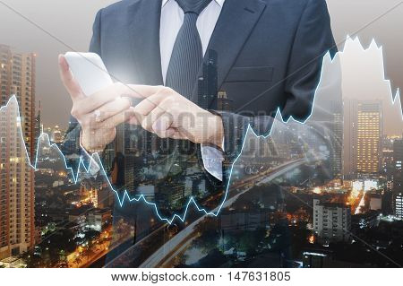 Double exposure of city of business financial graph and Japanese Yen and USD Dollar Bank note pile Business and finance concept