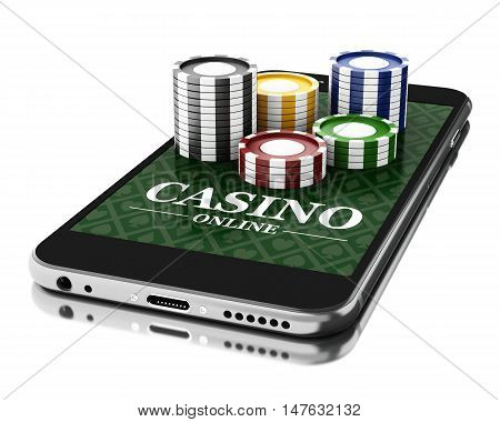 3d Illustration. Smartphone with coins. Online casino concept. Isolated white background.
