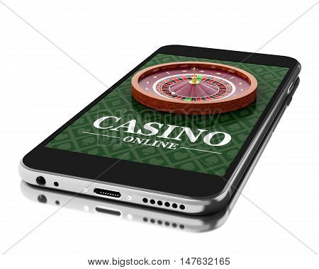 3d Illustration. Smartphone with roulette. Online casino concept. Isolated white background.