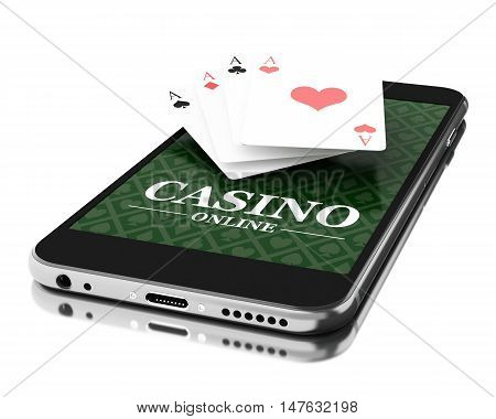 3d Illustration. Smartphone with poker cards. Online casino concept. Isolated white background.