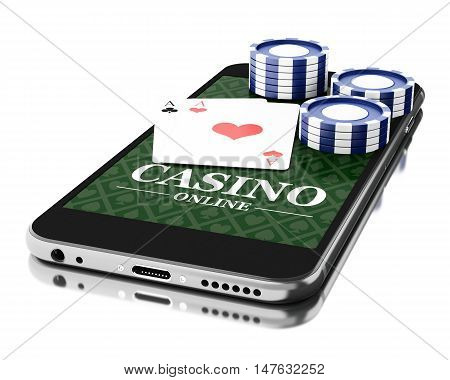 3d Illustration. Smartphone with coins and poker cards. Online casino concept. Isolated white background.
