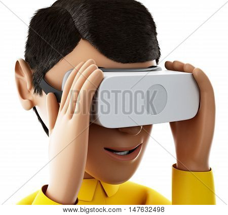 3d renderer image. Man playing with virtual reality glasses. Isolated white background.