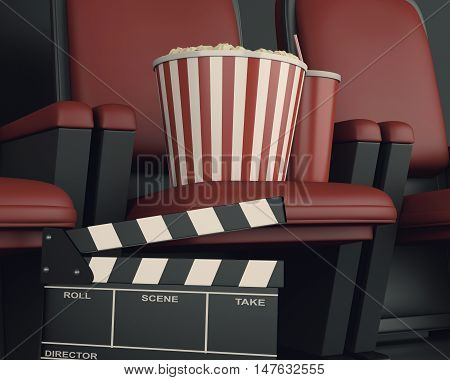 3d illustration. Cinema clapper board and popcorn on theater seat. cinematography concept.