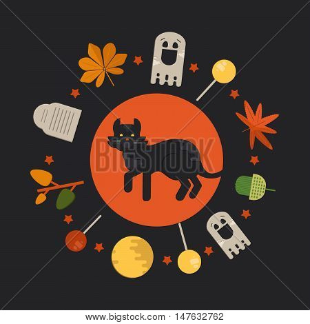 Halloween cat concept in circle shape. Vector illustration with ghost tombstone foliage and lollipop.
