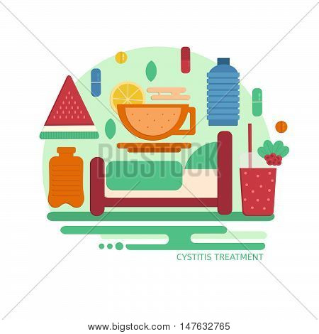 Cystitis treatment concept in flat style. Vector composition of things to cure cystitis. Illustraion for medical company and hospitals.
