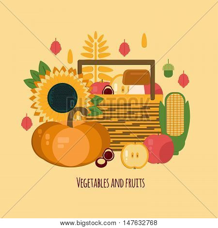 Wooden crate with autumn fruits and vegetables. Vector illustration of autumn harvest in flat style. Background with fresh natural foods. Diet and organic food template.