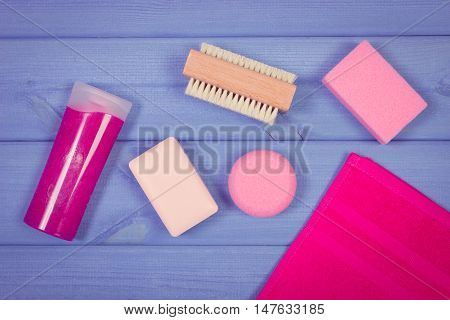 Vintage Photo, Accessories And Cosmetics For Personal Hygiene In Bathroom, Concept Of Body Care