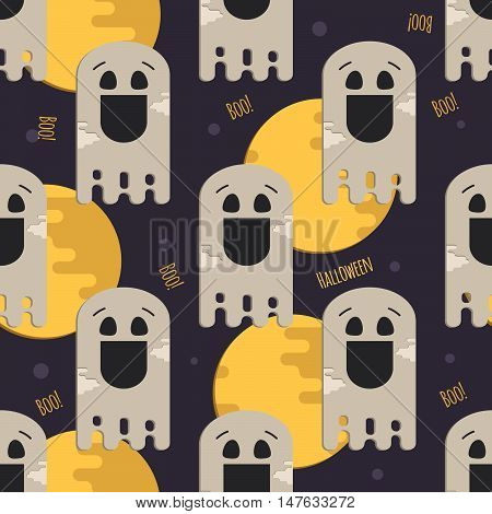 Halloween funny ghost seamless pattern. Background with ghost moon and inscription for halloween party.
