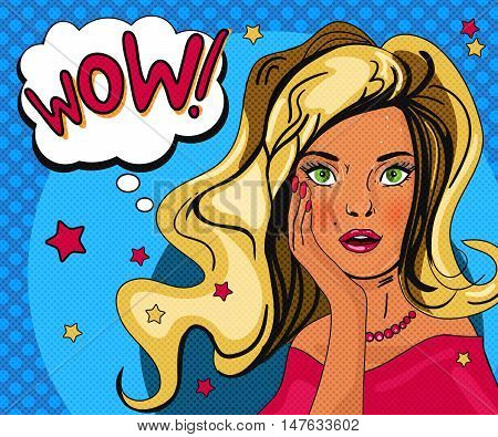 Pop art girl poster. Retro woman in comic style banner with speech bubble. Vintage pop art blonde woman poster.