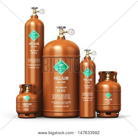 3D render illustration of the set of brown metal steel liquefied compressed natural helium gas containers or cylinders with high pressure gauge meters and valves isolated on white background