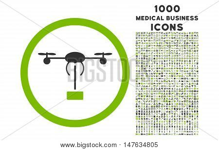 Copter Shipment rounded vector bicolor icon with 1000 medical business icons. Set style is flat pictograms, eco green and gray colors, white background.