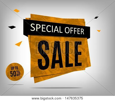 Sale banner with textured on a abstract gray background. Discount poster. Vector illustration eps 10