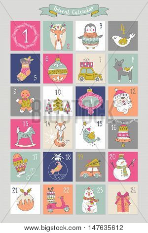 Christmas Advent Calendar With Hand Drawing Elements. Isolated Vector Illustration