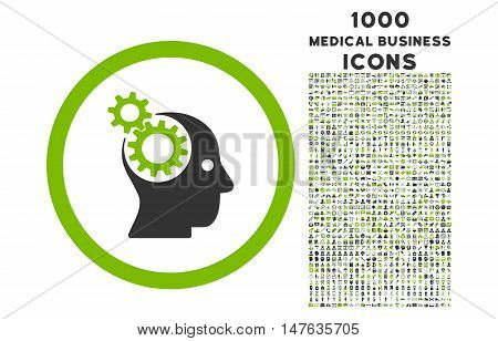 Intellect Gears rounded vector bicolor icon with 1000 medical business icons. Set style is flat pictograms, eco green and gray colors, white background.