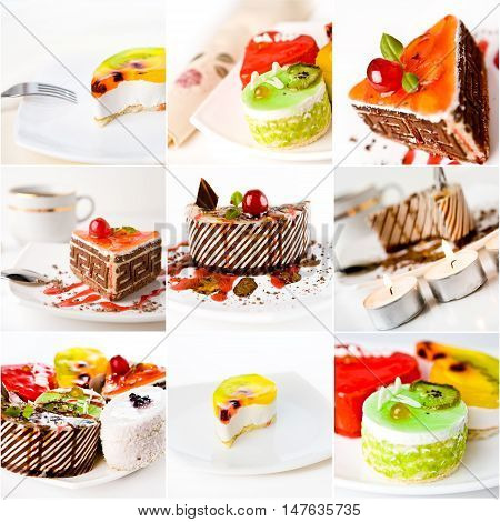 collage of cakes isolated on white background