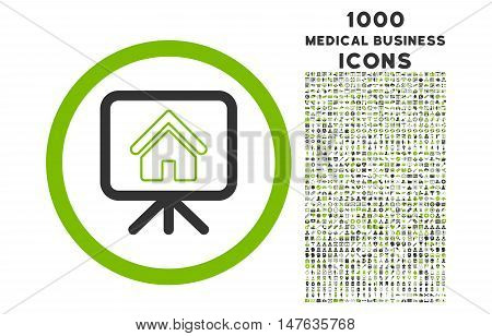 Project Slideshow rounded vector bicolor icon with 1000 medical business icons. Set style is flat pictograms, eco green and gray colors, white background.