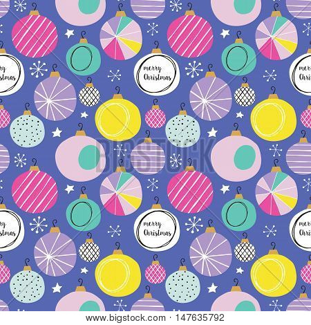 Christmas Holiday Seamless Pattern With Bauble Decorations. Hand Drawing Vector Illustration