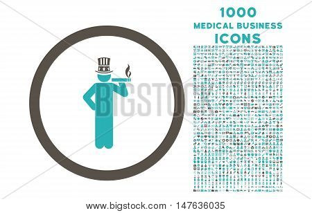 American Capitalist rounded vector bicolor icon with 1000 medical business icons. Set style is flat pictograms, grey and cyan colors, white background.