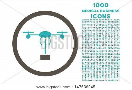 Copter Shipment rounded vector bicolor icon with 1000 medical business icons. Set style is flat pictograms, grey and cyan colors, white background.