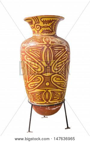 The replica of Ban Chiang earthenware isolated on white background Thailand