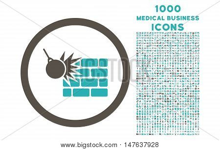 Wall Destruction rounded vector bicolor icon with 1000 medical business icons. Set style is flat pictograms, grey and cyan colors, white background.
