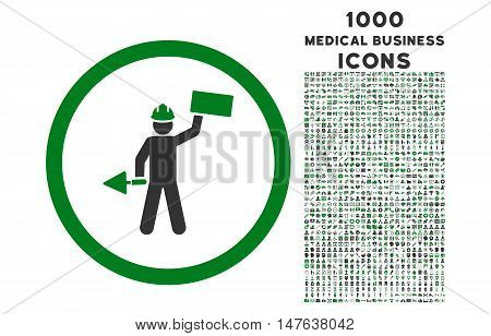Builder With Shovel rounded vector bicolor icon with 1000 medical business icons. Set style is flat pictograms, green and gray colors, white background.