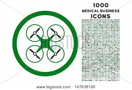 Copter rounded vector bicolor icon with 1000 medical business icons. Set style is flat pictograms, green and gray colors, white background.