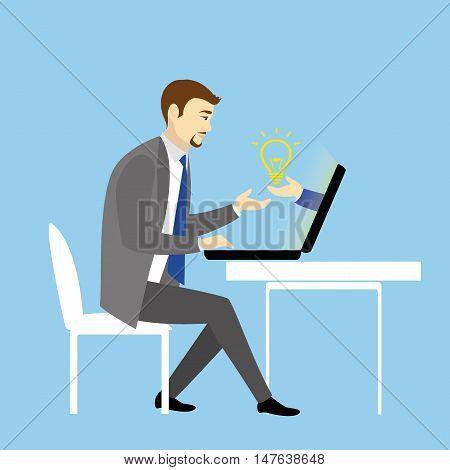 Man Working On laptop Computer.Businessman with finance idea.Cartoon vector illustration