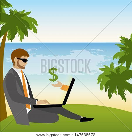 Freelancer dressed in business suit sitting under a palm tree on the beach and works vector illustration