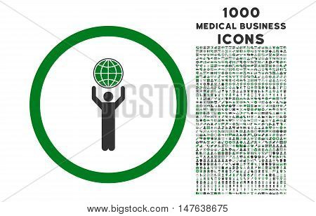 Globalist rounded vector bicolor icon with 1000 medical business icons. Set style is flat pictograms, green and gray colors, white background.