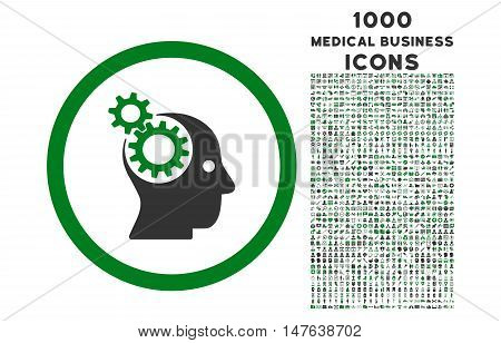 Intellect Gears rounded vector bicolor icon with 1000 medical business icons. Set style is flat pictograms, green and gray colors, white background.