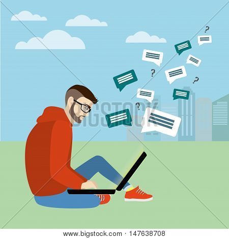 Fashionable guy sitting with laptop on the background of the city Internet communicationvector illustration
