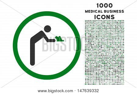 Servant rounded vector bicolor icon with 1000 medical business icons. Set style is flat pictograms, green and gray colors, white background.
