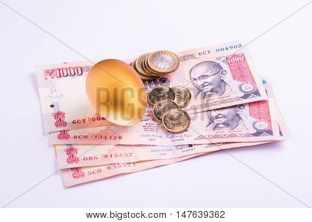 A gold egg on a pile of indian currency notes