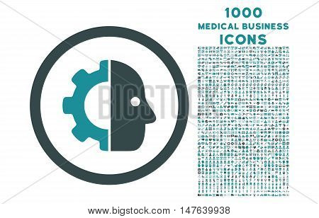 Cyborg rounded vector bicolor icon with 1000 medical business icons. Set style is flat pictograms, soft blue colors, white background.